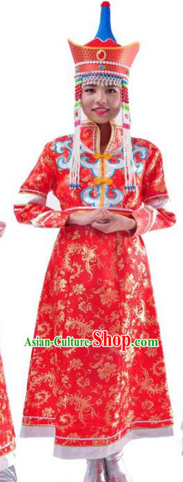 Chinese Mongol Nationality Wedding Costume Red Mongolian Dress Traditional Mongolian Minority Clothing for Women