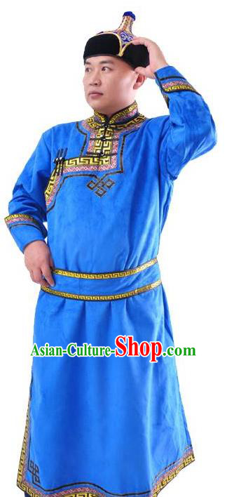 Chinese Mongol Nationality Costume Traditional Mongolian Minority Folk Dance Blue Mongolian Robe for Men