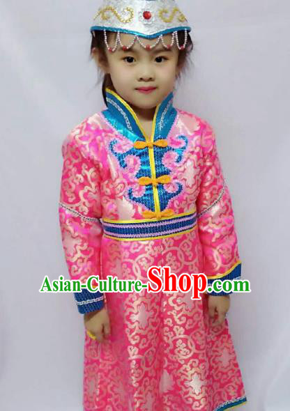Chinese Mongol Nationality Costume Pink Mongolian Robe Traditional Mongolian Minority Clothing for Kids
