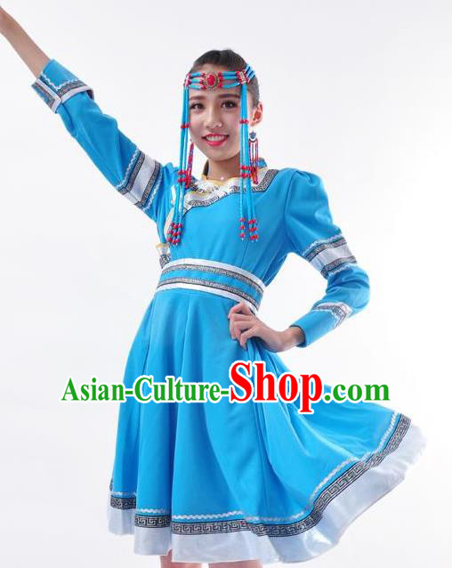 Chinese Mongol Nationality Folk Dance Costume Traditional Minority Blue Mongolian Dress for Women