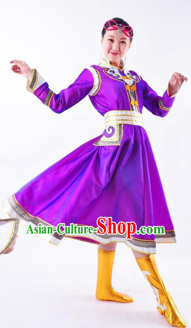 Chinese Mongol Nationality Costume Purple Mongolian Dress Traditional Mongolian Minority Clothing for Women