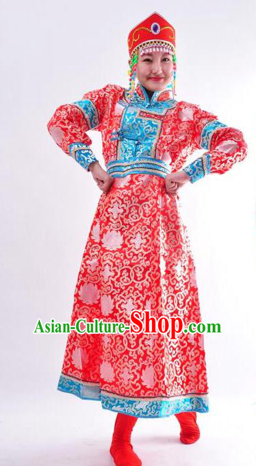 Chinese Mongol Nationality Costume Wedding Red Mongolian Dress Traditional Mongolian Minority Clothing for Women
