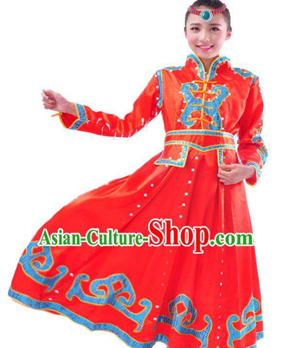 Chinese Mongol Nationality Folk Dance Costume Traditional Mongolian Minority Red Big Swing Dress for Women