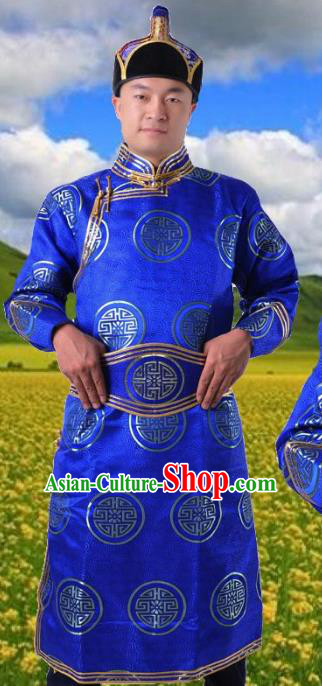 Chinese Mongol Nationality Blue Costume Traditional Mongolian Royal Highness Clothing for Men