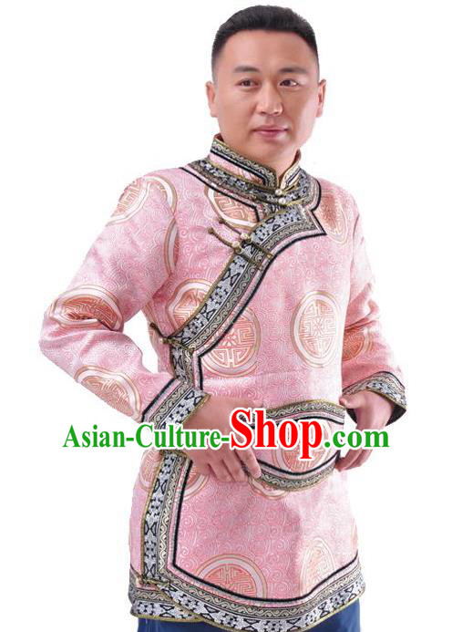 Chinese Mongol Nationality Costume Traditional Mongolian Royal Highness Pink Coat for Men
