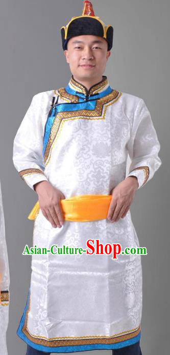 Chinese Mongol Nationality White Costume Traditional Mongolian Royal Highness Clothing for Men