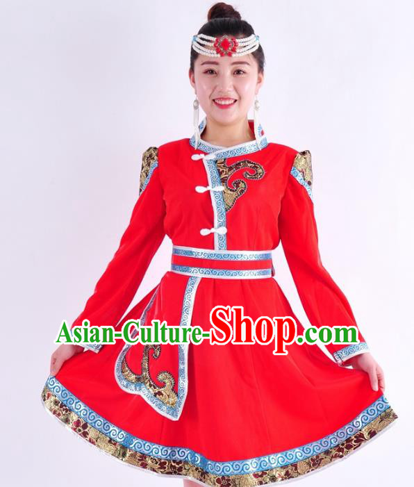 Chinese Mongol Nationality Costume Traditional Mongolian Folk Dance Red Mongolian Robe for Women