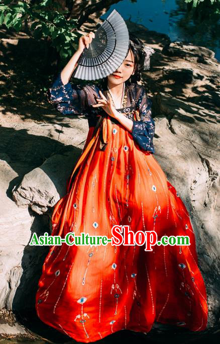 Ancient Chinese Traditional Costume Tang Dynasty Princess Embroidered Hanfu Dress for Women