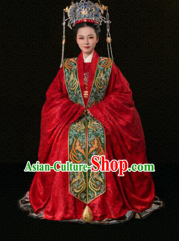 Chinese Traditional Ancient Ming Dynasty Imperial Empress Wedding Hanfu Dress and Phoenix Coronet Complete Set
