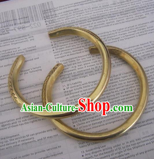 Chinese Miao Nationality Ornaments Traditional Hmong Handmade Brass Bracelets for Women