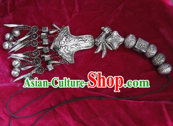 Chinese Miao Nationality Ornaments Sliver Accessories Traditional Hmong Handmade Longevity Lock for Women