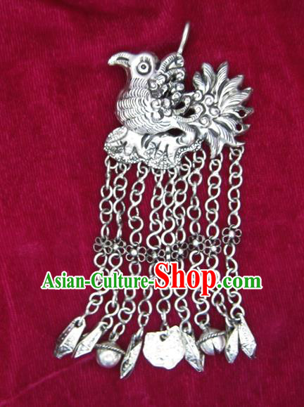 Chinese Miao Nationality Ornaments Sliver Necklace Pendant Traditional Hmong Necklet Accessories for Women