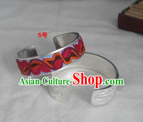 Chinese Miao Nationality Ornaments Sliver Bracelet Traditional Hmong Embroidered Birds Bangle for Women