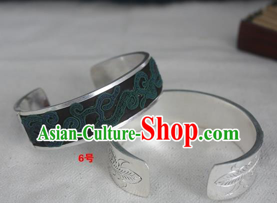 Chinese Miao Nationality Ornaments Sliver Bracelet Traditional Hmong Embroidered Black Bangle for Women