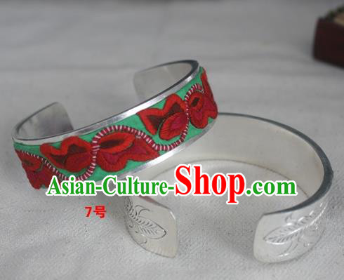Chinese Miao Nationality Ornaments Sliver Embroidered Bracelet Traditional Hmong Bangle for Women