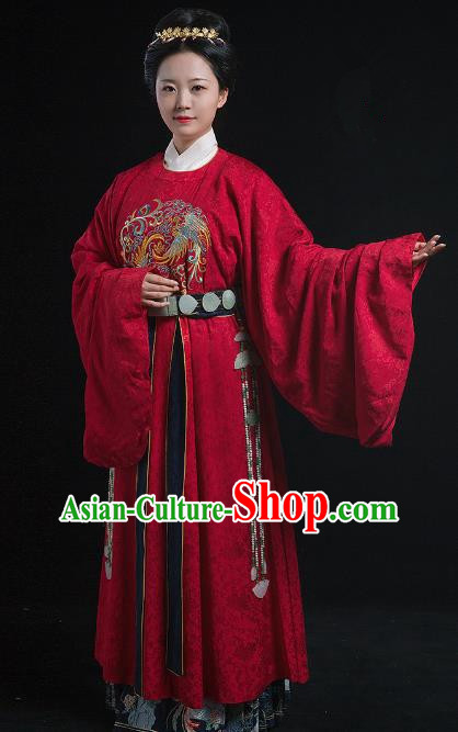 Traditional Chinese Ancient Ming Dynasty Empress Embroidered Costume Queen Hanfu Dress for Women