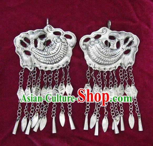 Chinese Miao Sliver Ornaments Carving Fish Earrings Traditional Hmong Tassel Eardrop for Women
