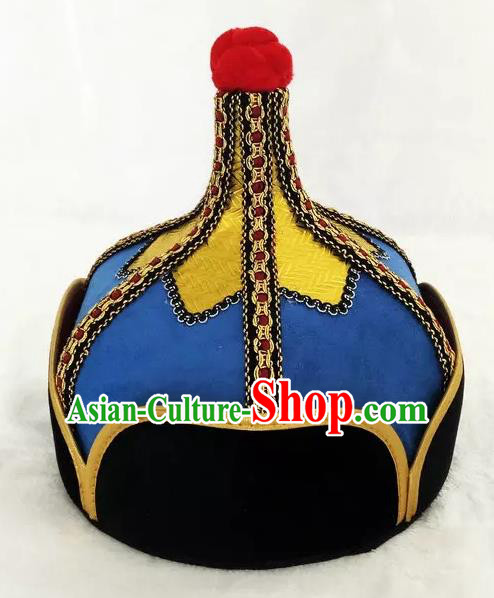 Chinese Traditional Mongol Stage Performance Blue Hats, Mongolian Folk Dance Headwear for Men