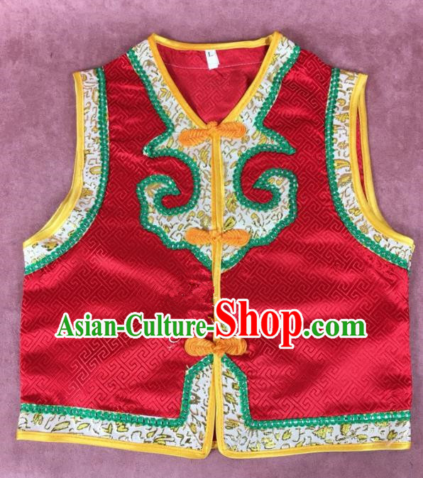 Chinese Traditional Mongol Nationality Red Vest, China Mongolian Minority Folk Dance Waistcoat Ethnic Costume for Kids
