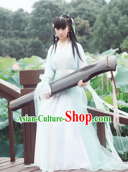 Chinese Ancient Princess Hanfu Dress Jin Dynasty Television Drama Swordswoman Costumes Complete Set