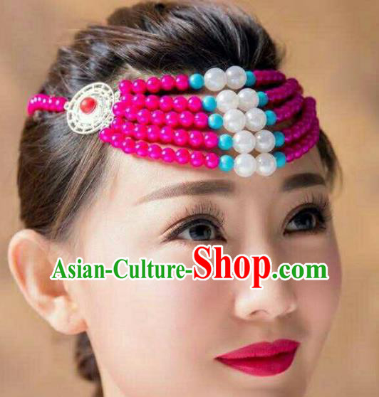 Chinese Traditional Mongol Stage Performance Hair Accessories, Mongolian Folk Dance Rosy Beads Headwear for Women