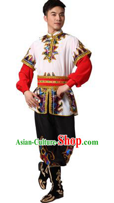 Traditional Chinese Xinjiang Uyghur Nationality White Costume, Uigurian Minority Folk Dance Ethnic Clothing for Men