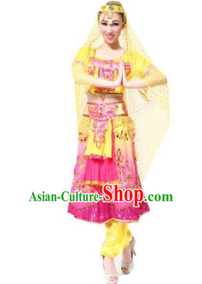 Traditional Chinese Xinjiang Uyghur Nationality Pink Dress, Uigurian Minority Folk Dance Ethnic Costume for Women