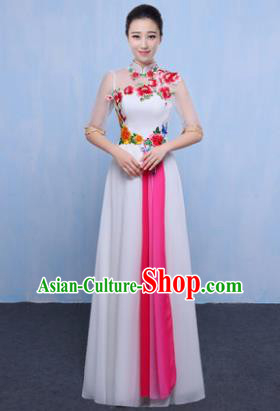 Chinese Traditional Chorus Singing Group Embroidered Costume, Compere Classical Dance White Dress for Women