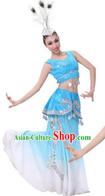 Traditional Chinese Dai Ethnic Peacock Dance Dress, Dai Minority Folk Dance Costume and Headwear for Women