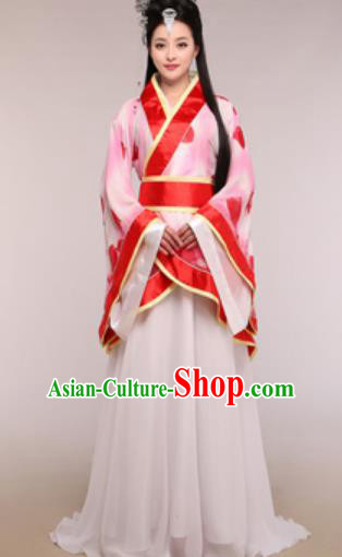 Traditional Chinese Ancient Palace Lady Costume Han Dynasty Princess Red Hanfu Dress for Women