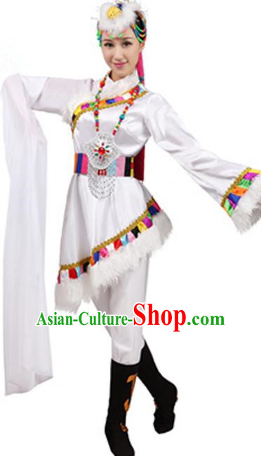 Traditional Chinese Zang Ethnic Dance White Dress, China Tibetan Minority Folk Dance Costume and Headwear for Women