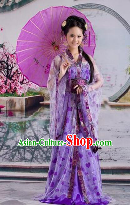 Traditional Chinese Ancient Fairy Costume Tang Dynasty Imperial Princess Purple Hanfu Dress for Women