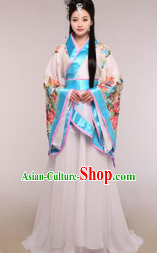 Traditional Chinese Ancient Palace Lady Costume Han Dynasty Princess Blue Hanfu Dress for Women