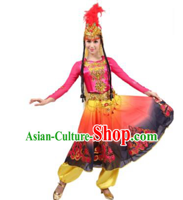 Traditional Chinese Uyghur Nationality Pink Dress, Xinjiang Uigurian Minority Folk Dance Ethnic Costume for Women