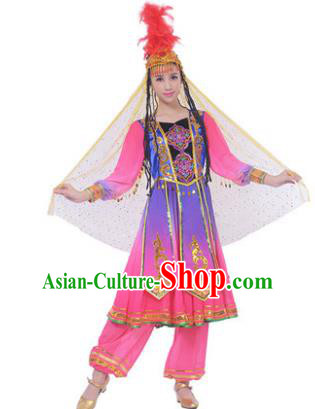 Traditional Chinese Uyghur Nationality Pink Dress, Uigurian Minority Folk Dance Ethnic Costume and Hat for Women