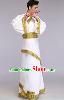 Traditional Chinese Ancient Scholar Costume Han Dynasty Minister Hanfu White Curving-front Robe for Men
