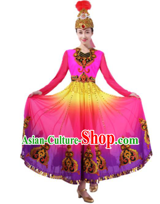 Traditional Chinese Uyghur Nationality Rosy Dress, Uigurian Minority Folk Dance Ethnic Costume and Hat for Women
