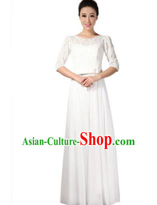 Professional Chorus Singing Group Stage Performance Costume, Compere Modern Dance White Lace Dress for Women