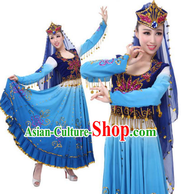 Traditional Chinese Uigurian Nationality Blue Clothing, Uyghur Minority Folk Dance Ethnic Costume and Hat for Women