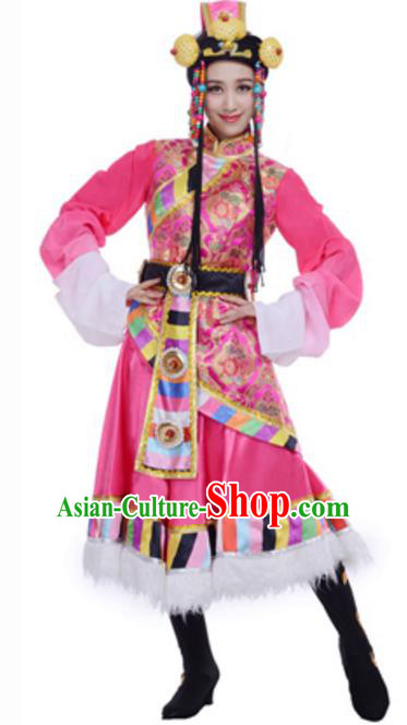 Traditional Chinese Mongolian Nationality Pink Dress, Mongol Minority Folk Dance Ethnic Costume and Headwear for Women
