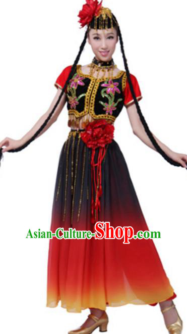 Traditional Chinese Uyghur Ethnic Dance Clothing, Uigurian Minority Folk Dance Costume and Headwear for Women