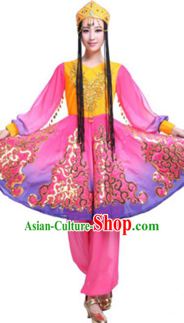 Traditional Chinese Uyghur Ethnic Dance Dress, Uigurian Minority Folk Dance Costume and Headwear for Women