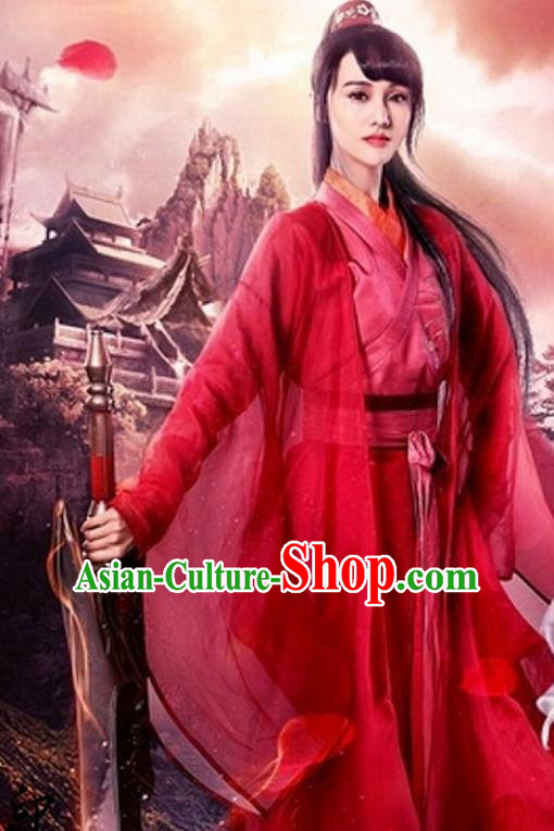 Chinese Ancient Swordswoman Red Hanfu Dress Ming Dynasty Female Knight-errant Costumes for Women