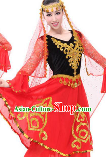 Traditional Chinese Uigurian Ethnic Dance Dress, China Uyghur Minority Folk Dance Costume and Headwear for Women