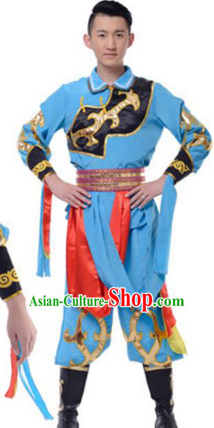 Traditional Chinese Mongolian Ethnic Clothing, China Mongols Minority Folk Dance Costume for Men