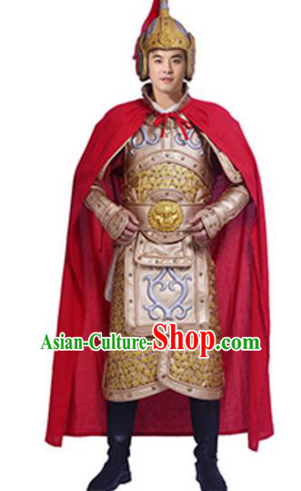 Traditional Chinese Ancient General Costume Historical Body Armor and Helmet Complete Set