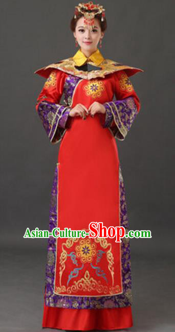 Traditional Chinese Ancient Empress Costume Qing Dynasty Manchu Queen Historical Clothing and Headpiece Complete Set