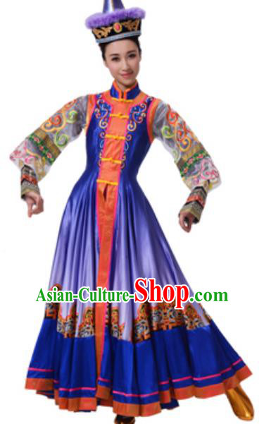 Traditional Chinese Mongolian Nationality Ethnic Clothing, China Mongols Minority Princess Folk Dance Costume and Hat for Women