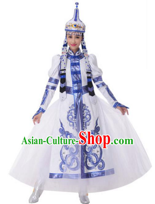 Traditional Chinese Mongol Nationality Dancing Costume and Hat, China Mongolian Minority Folk Dance Ethnic Pleated Skirt for Women
