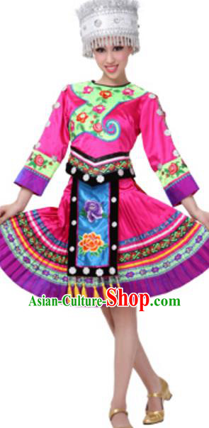 Traditional Chinese Miao Nationality Dancing Costume and Hat, China Hmong Minority Folk Dance Ethnic Pleated Skirt for Women